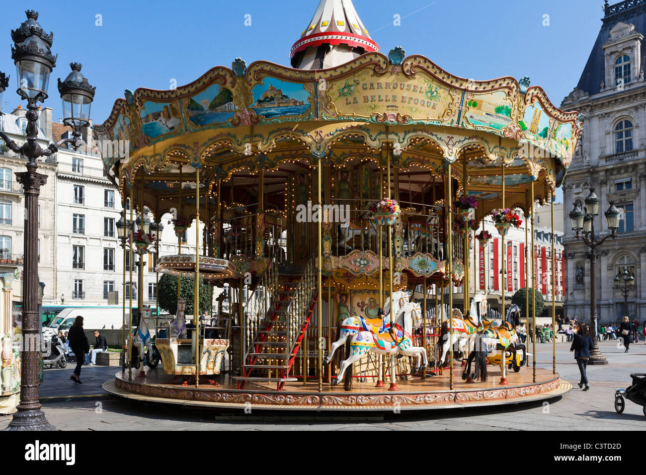 carousel in front of the hotel de ville town hall 4th stock photo 36801813 alamy. Black Bedroom Furniture Sets. Home Design Ideas