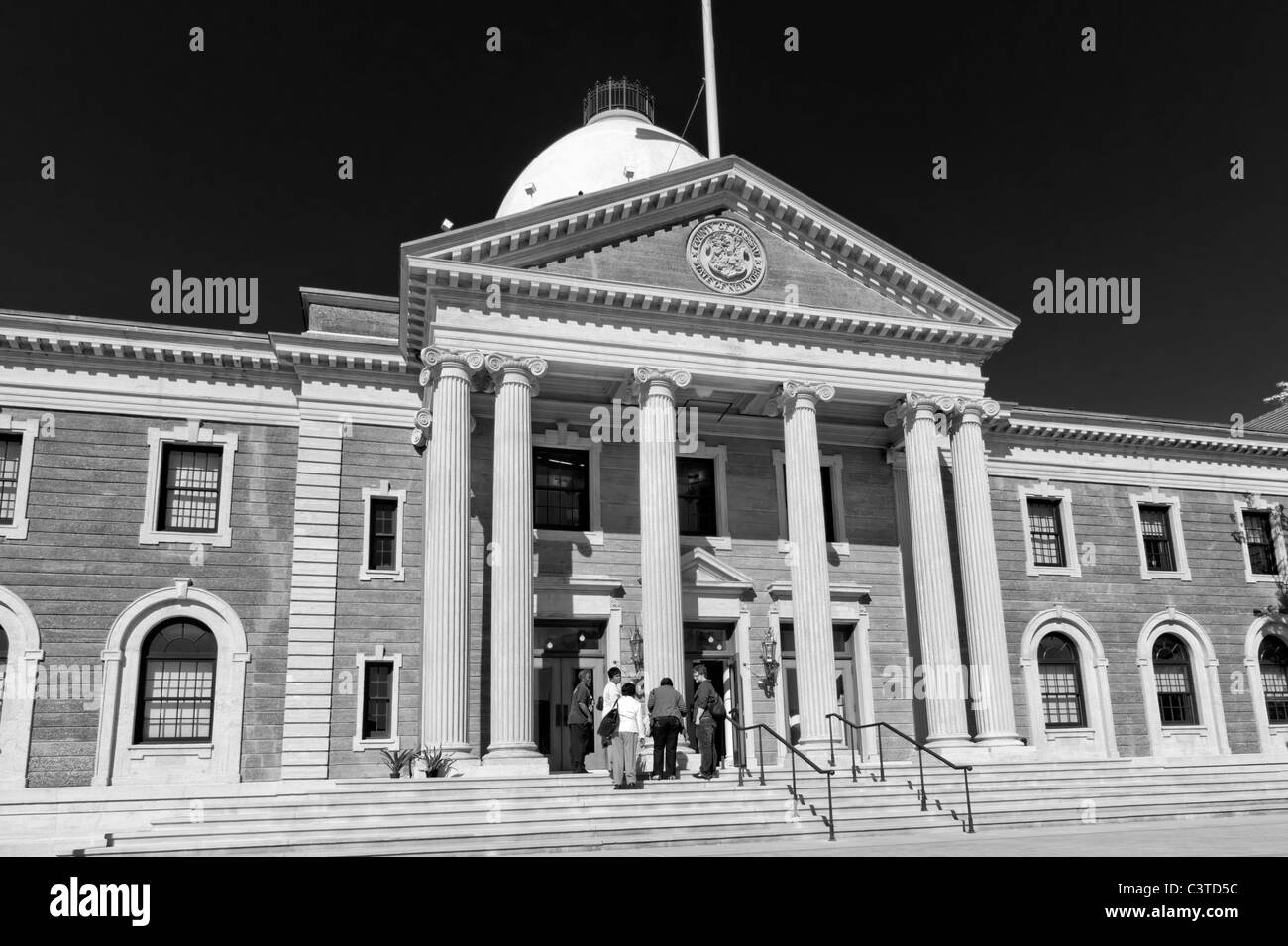 Nassau County's Theodore Roosevelt Executive and Legislative Building, diverse people at entrance, May 9, 2011, - Stock Image