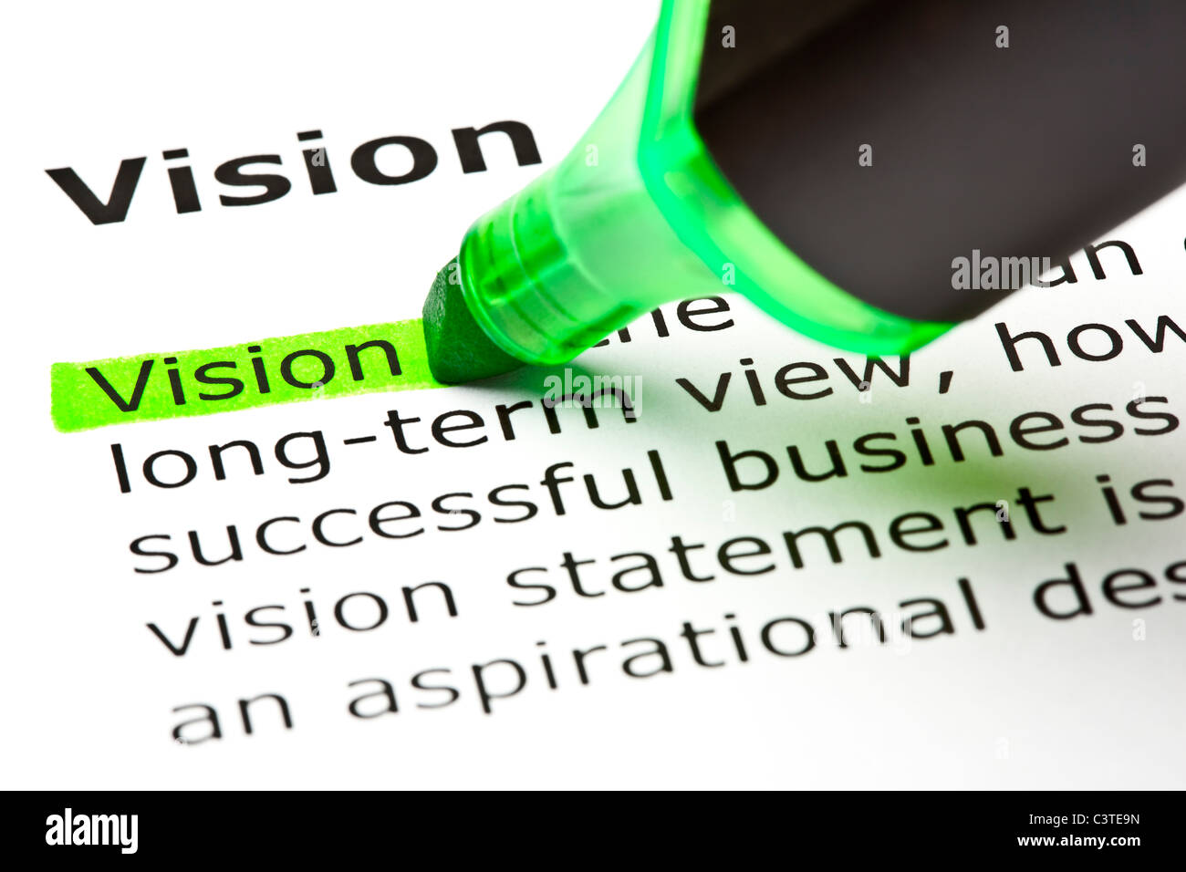 The word 'Vision' highlighted in green with felt tip pen Stock Photo