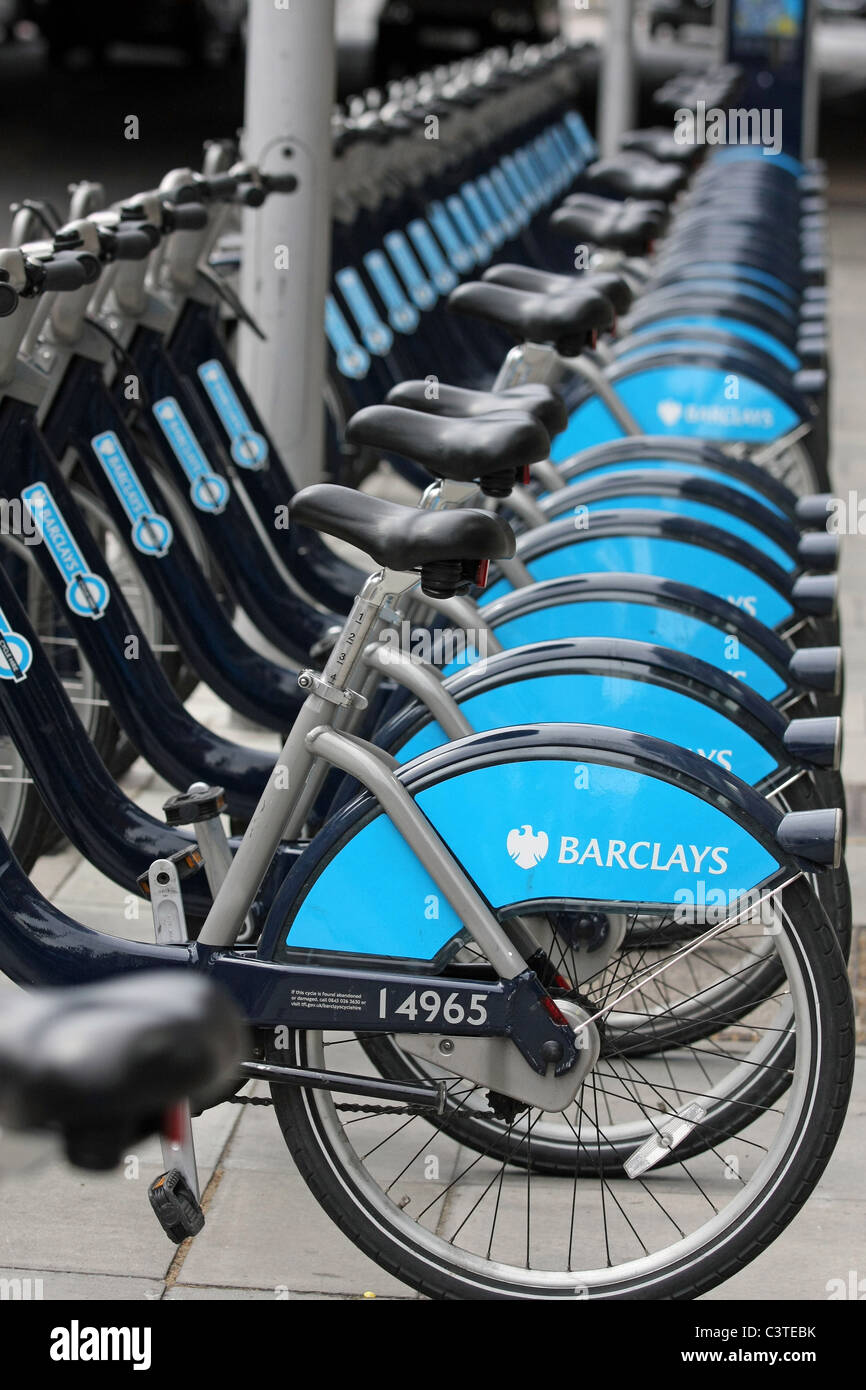 Parts Of Boris Bikes In A Docking Station In London England Stock
