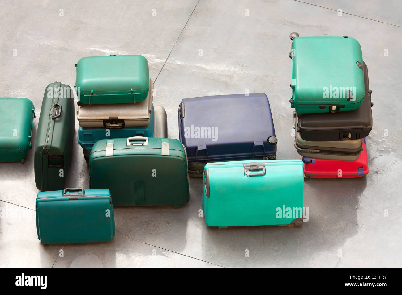 Line of suitcases, part of a sculpture made with suitcases at Arturo Merino Benitez International Airport, Santiago - Stock Image