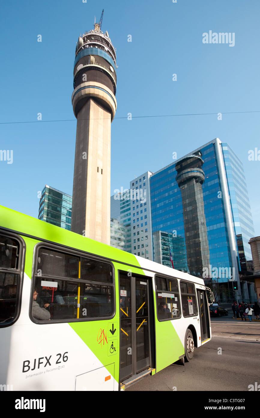 Bus of the Public transportation System named Transantiago, Santiago de Chile, South America - Stock Image