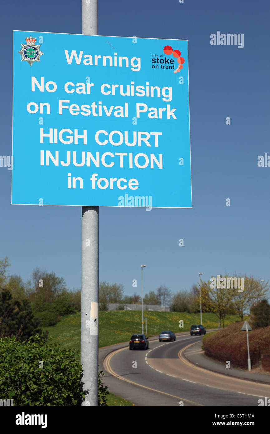 A sign saying no car cruising high court injunction in force at Festival Park, Stoke-on-Trent, Staffs, England, - Stock Image