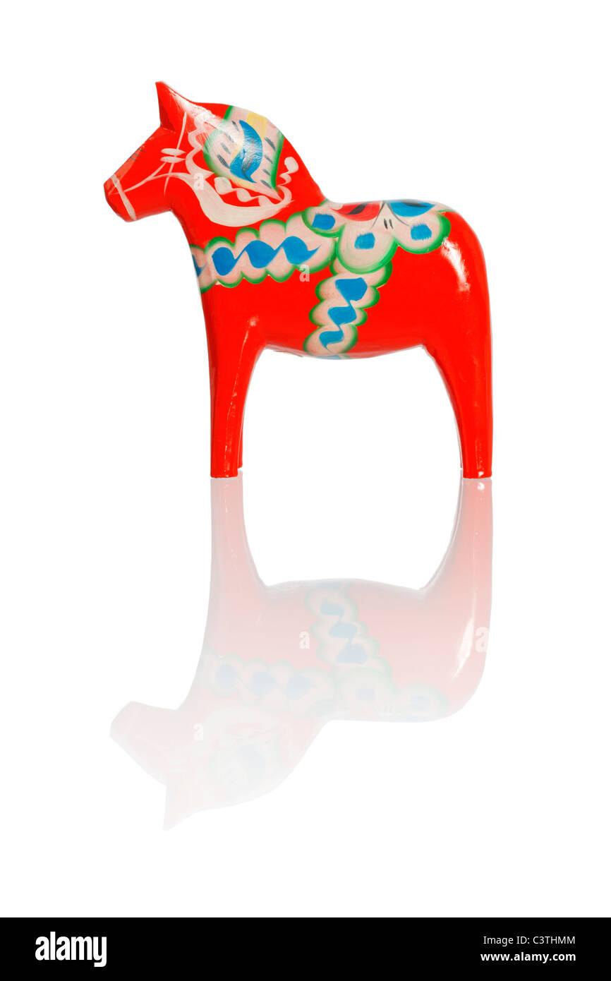 A Traditional Dalecarlian horse or Dala horse (Swedish: Dalahast) - Stock Image