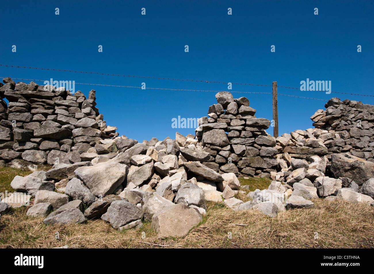 Drystone wall in poor state of repair - Stock Image