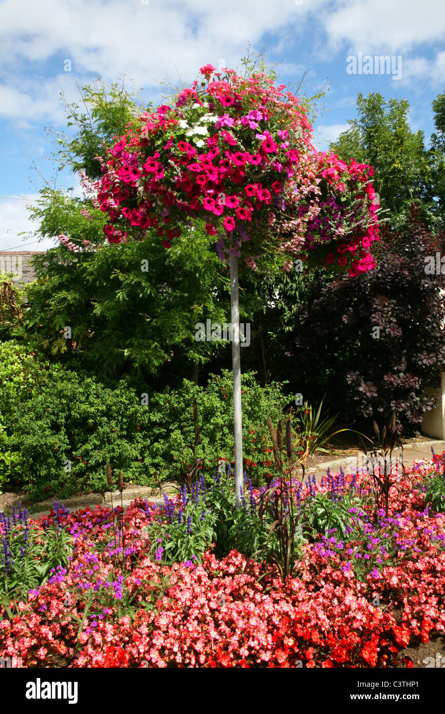 Atractive floral dispay in the centre of the village of Sidford near the south coast resort of Sidmouth - Stock Image