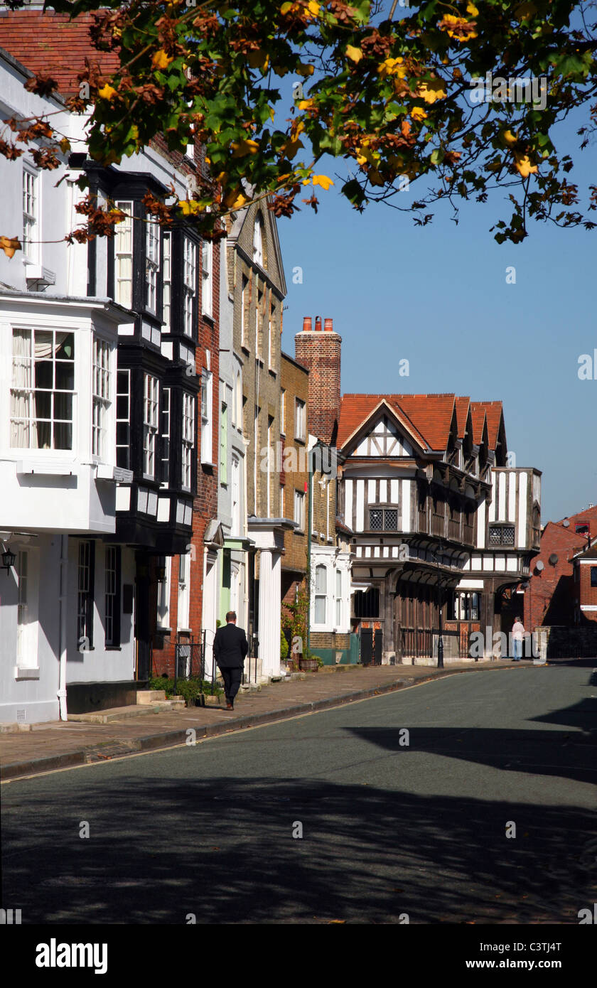 Southampton - Bugle Street where the Tudor House Museum can be found - Stock Image