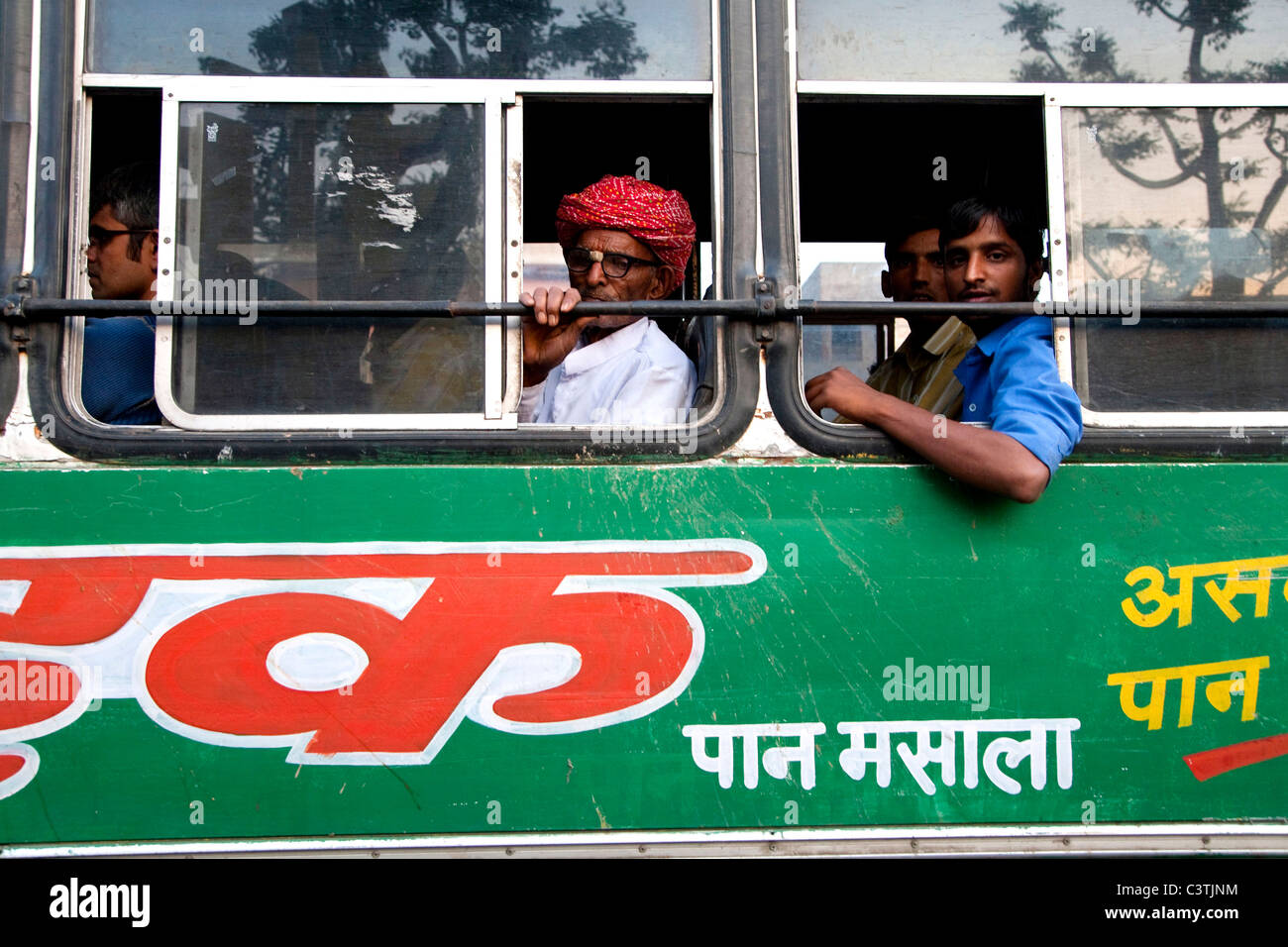 People on bus, Jaipur, Rajasthan, India, Asia - Stock Image