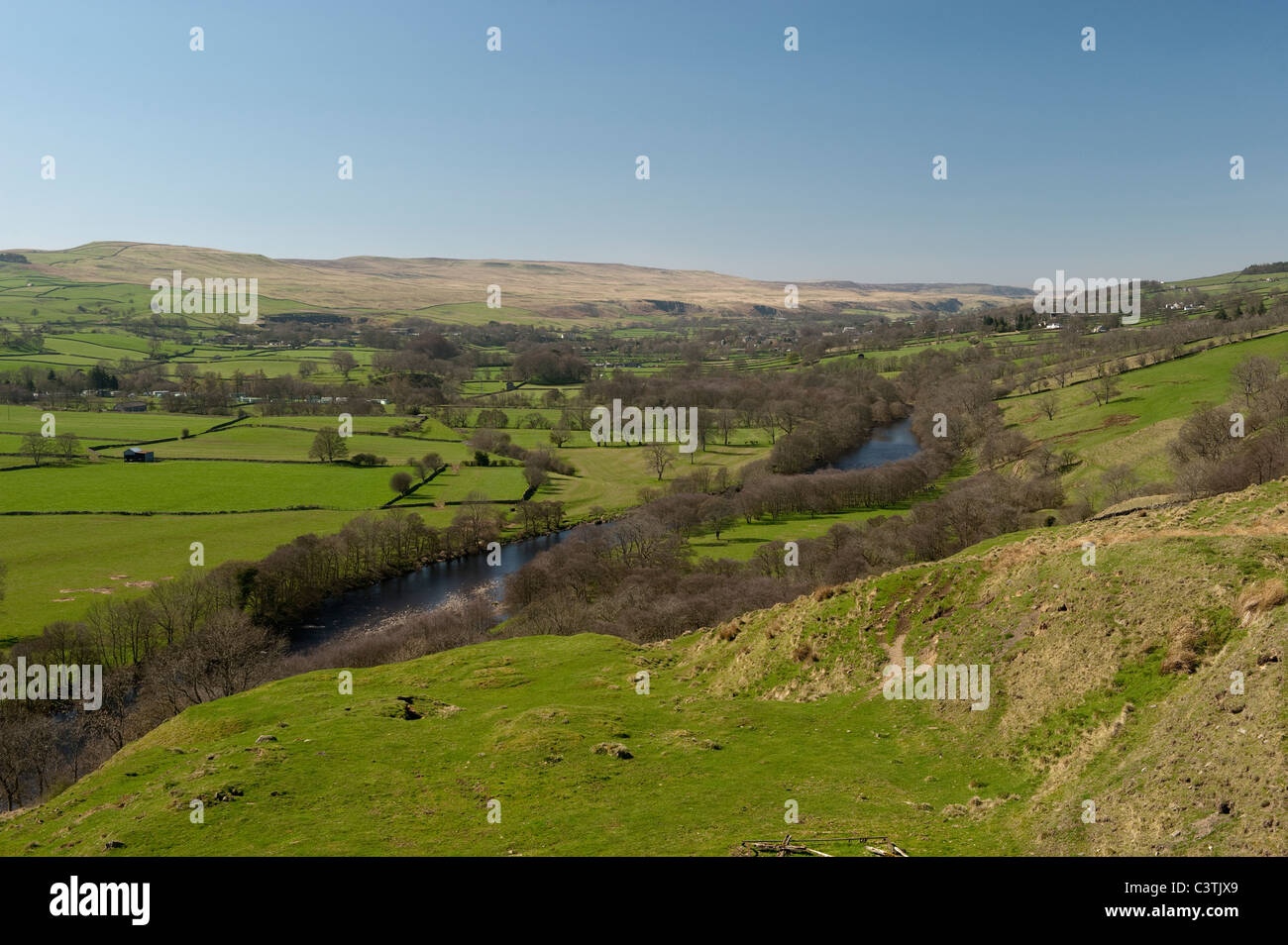 Looking up Teesdale valley from Eggleston towards Middleton in Teesdale - Stock Image