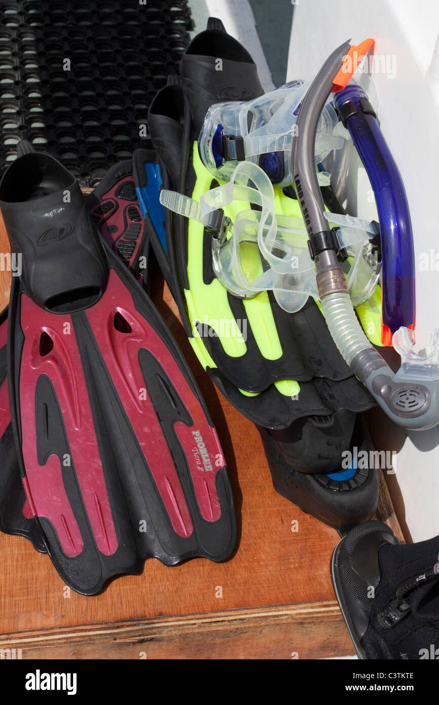 Snorkeling equipment, diving mask and fins/flippers - Stock Image