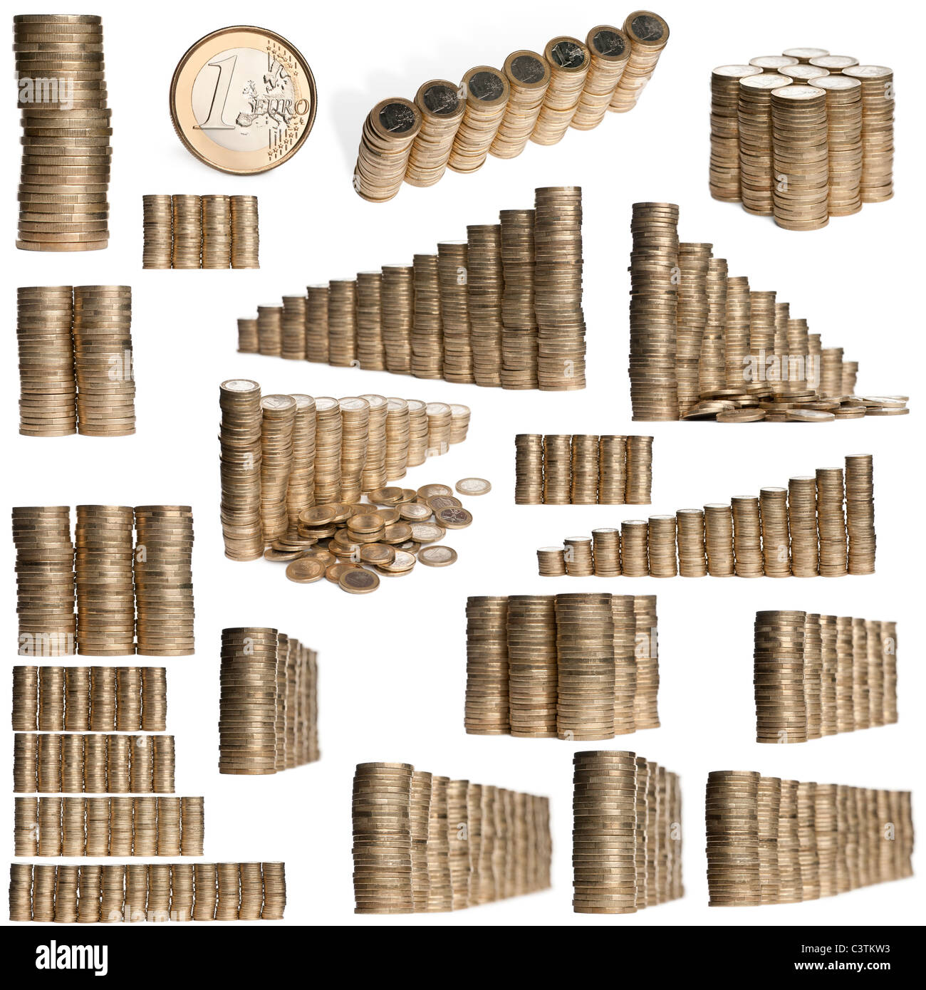 Stacks of 2 Euros in front of white background - Stock Image