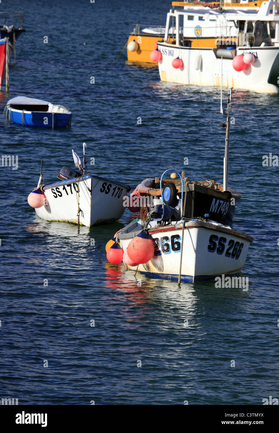 Fishing Boats in St Ives Harbour, Cornwall Stock Photo