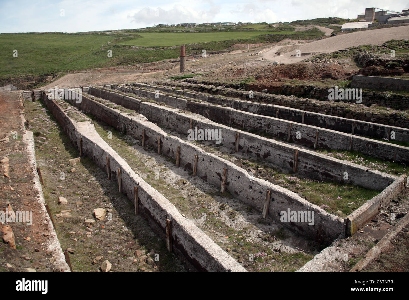 Remains of the Settling Tanks where Tin was extracted, Levant Tin Mine, St Just, Cornwall. - Stock Image