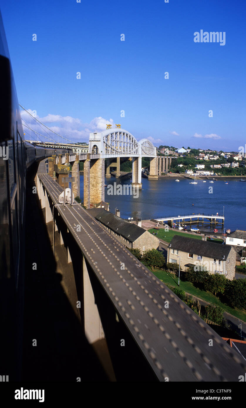 royal albert railway bridge opened in 1859 built by isambard kingdom brunel crossing the river tamar at plymouth - Stock Image