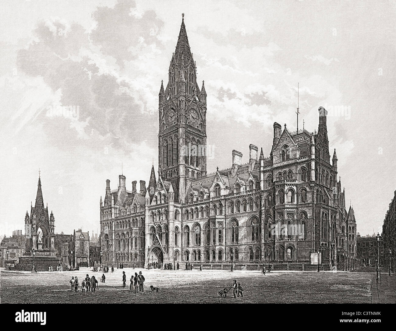 Manchester Town Hall, Manchester, England in the late 19th nineteenth century. - Stock Image