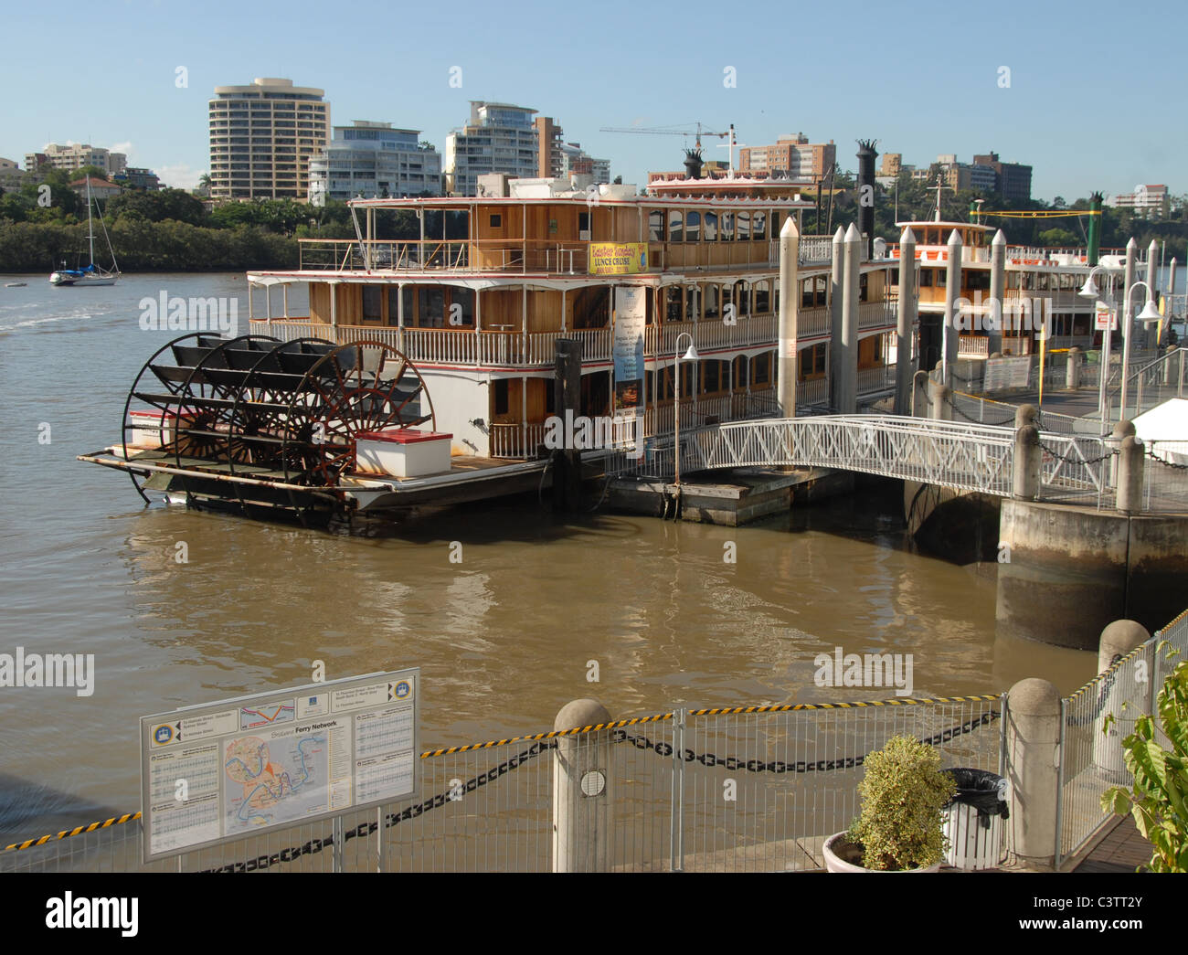 Paddle steamer on the Brisbane river of Brisbane, capital of Queensland, Australia, taking tourists on sightseeing - Stock Image