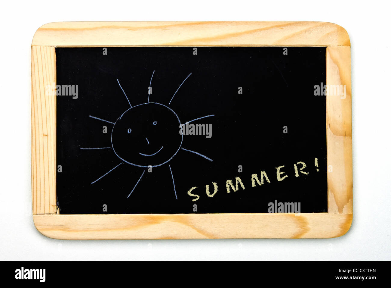 a chalkboard with a sun - Stock Image