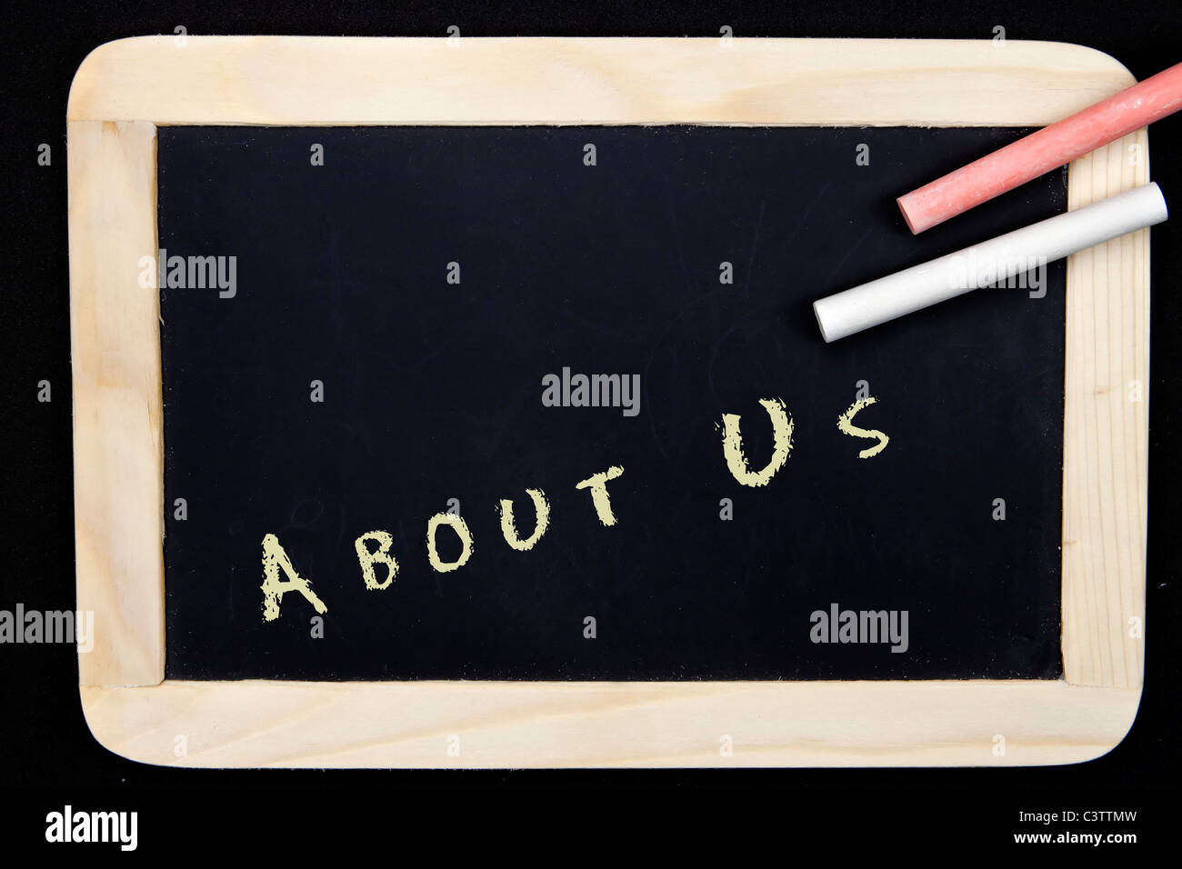 a chalkboard with the imprint for for example a website - Stock Image