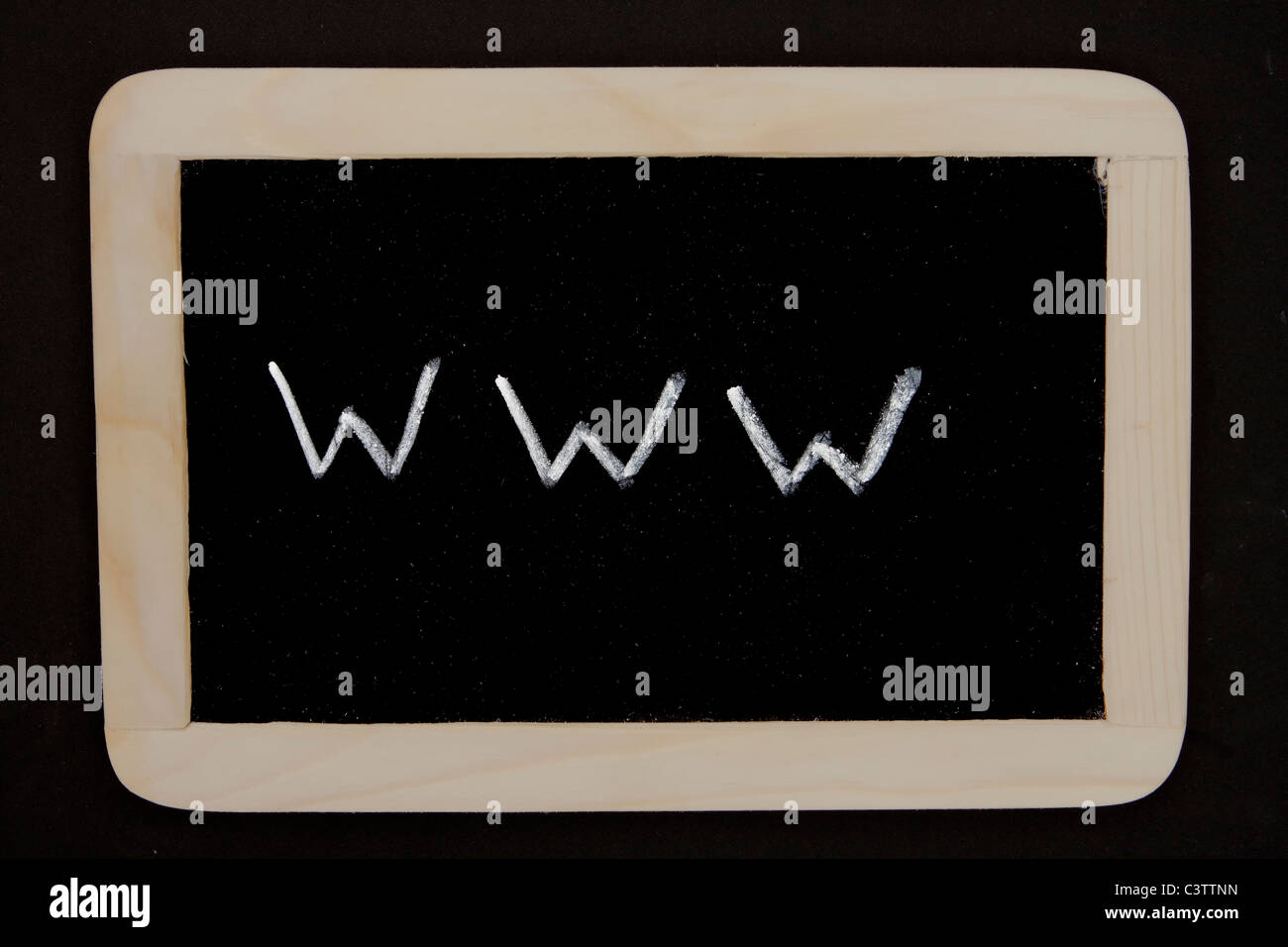 a chalkboard with the writing www as a symbol for the internet - Stock Image