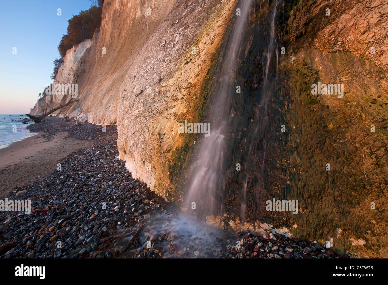 Waterfall at the Kieler Bach, Jasmund National Park, Ruegen island, Mecklenburg-Western Pomerania, Germany - Stock Image