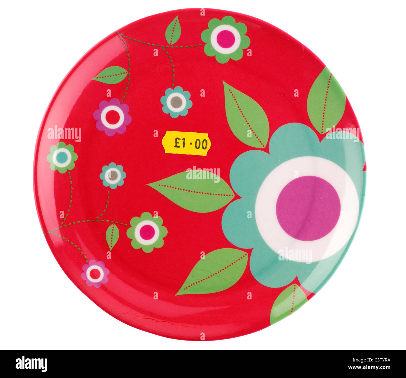 Circular red plastic plate priced at one pound - Stock Image