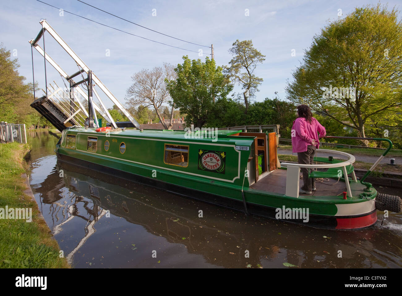 Brecon Canal and barge near Talybont-on-Usk, Powys Wales UK 117988_Brecon-Canal - Stock Image