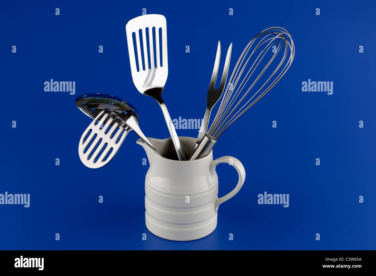 Stainless steel cutlery - Stock Image