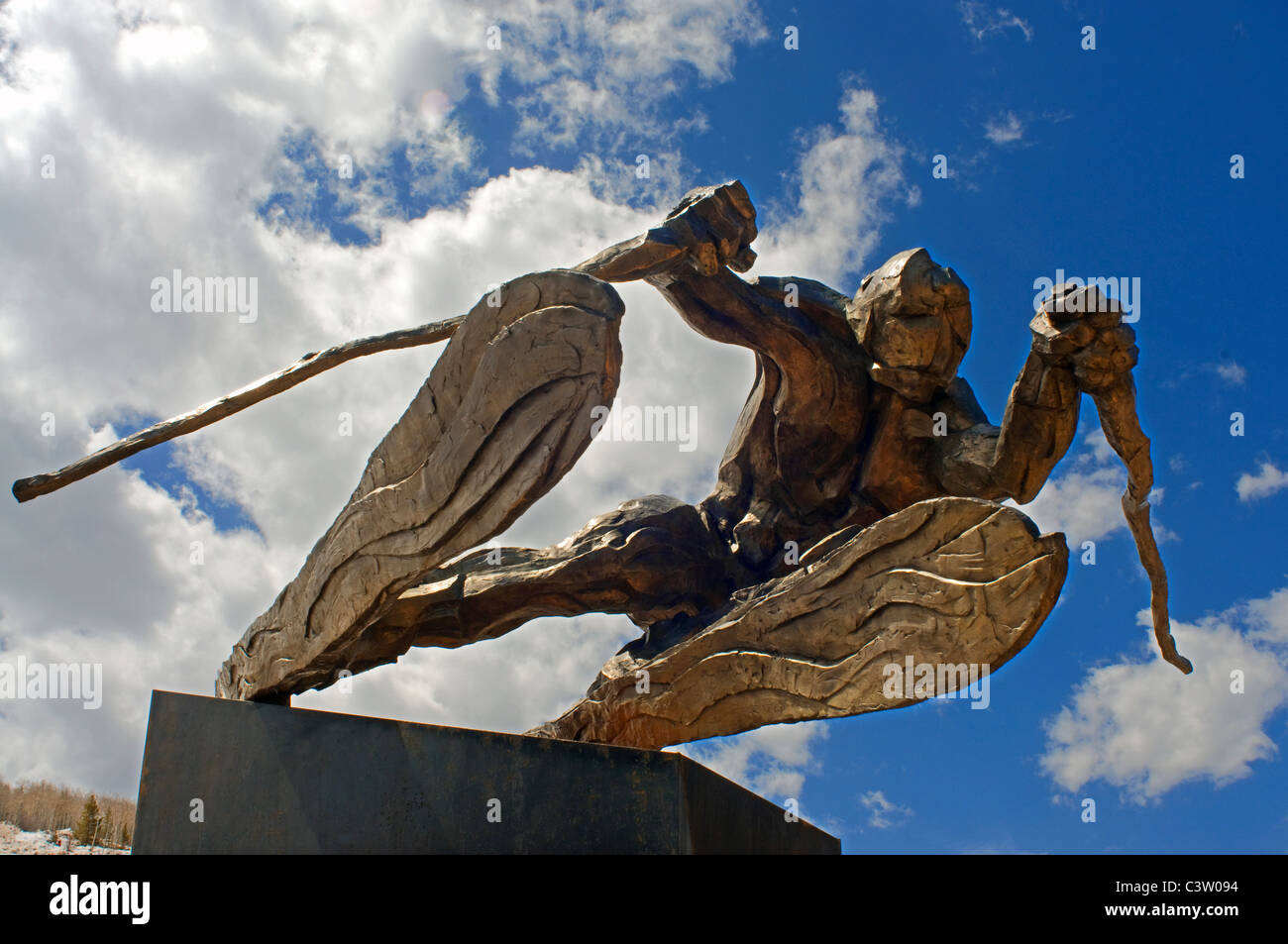 Bronze sculpture in Vail Co. - Stock Image