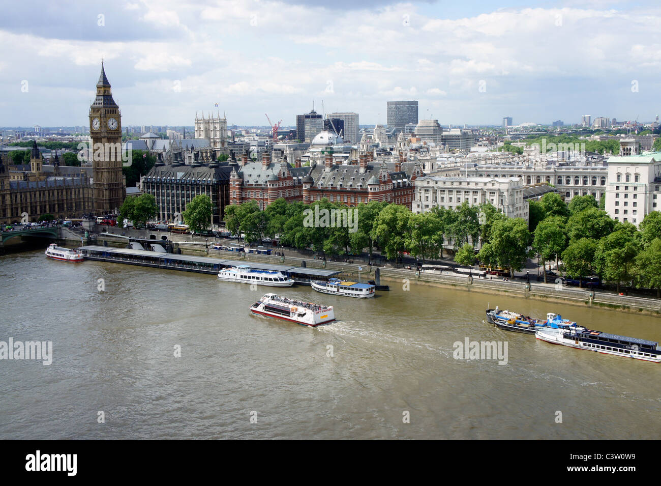 London Embankment, Big Ben, Parliamentary Offices River Thames as seen from the London Eye. - Stock Image