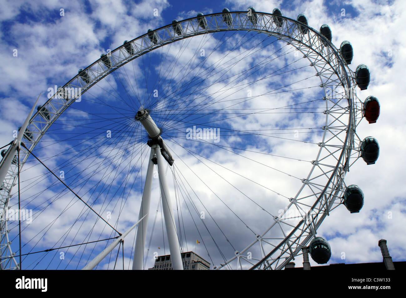 London Eye, Southbank London embankment - Stock Image