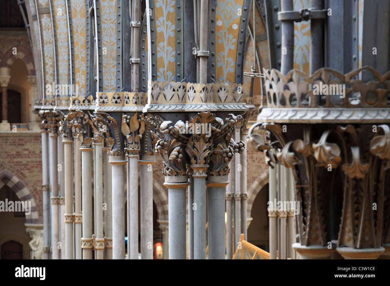Ornate iron columns of the Oxford University Natural History Museum, Oxford, England - Stock Image