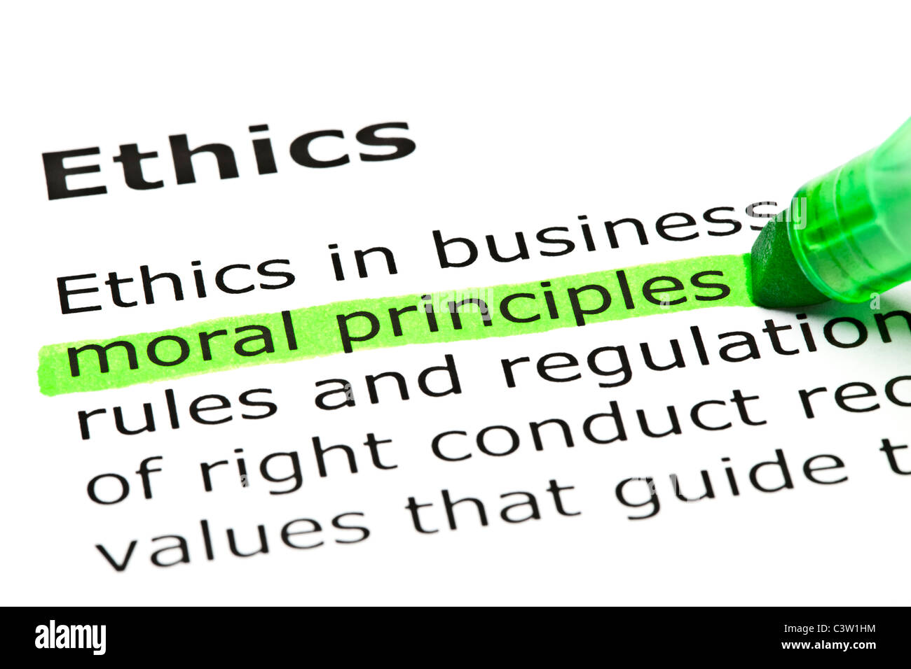 'Moral principles' highlighted in green, under the heading 'Ethics' - Stock Image