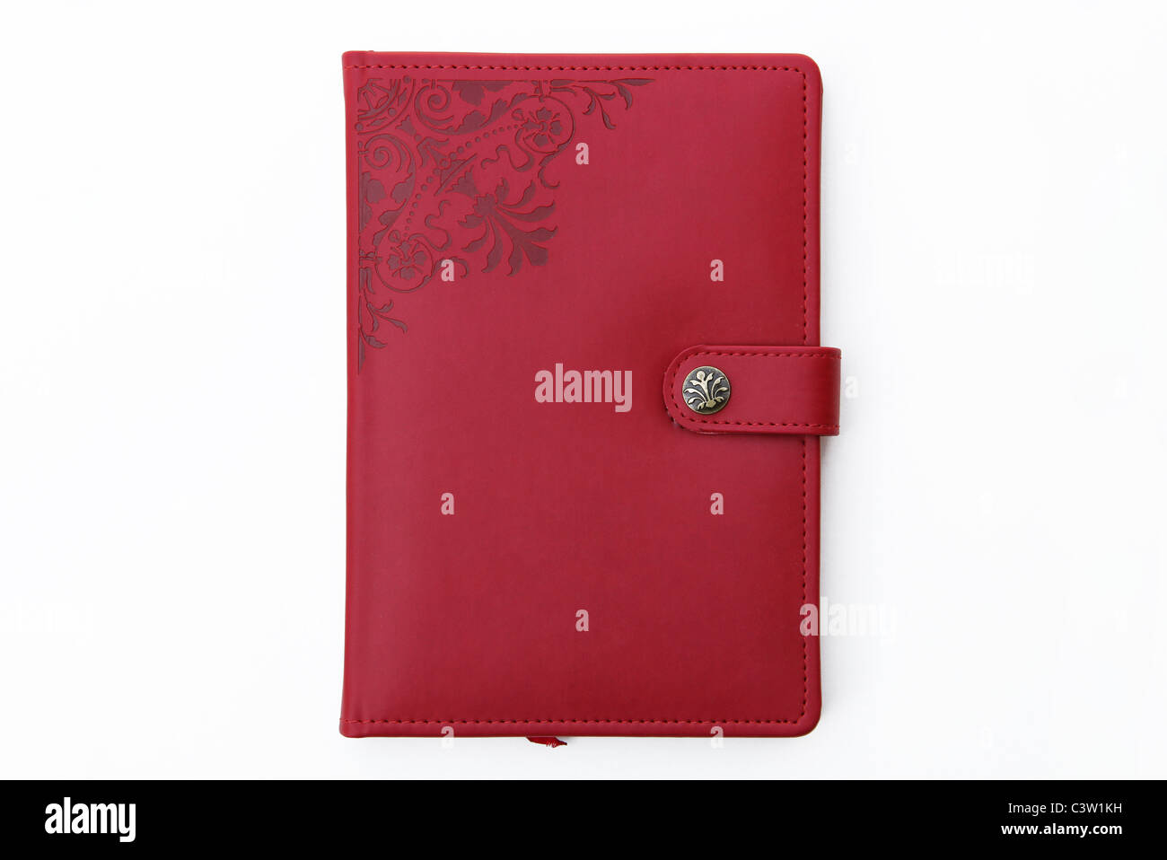 Red journal, diary, book planner - Stock Image