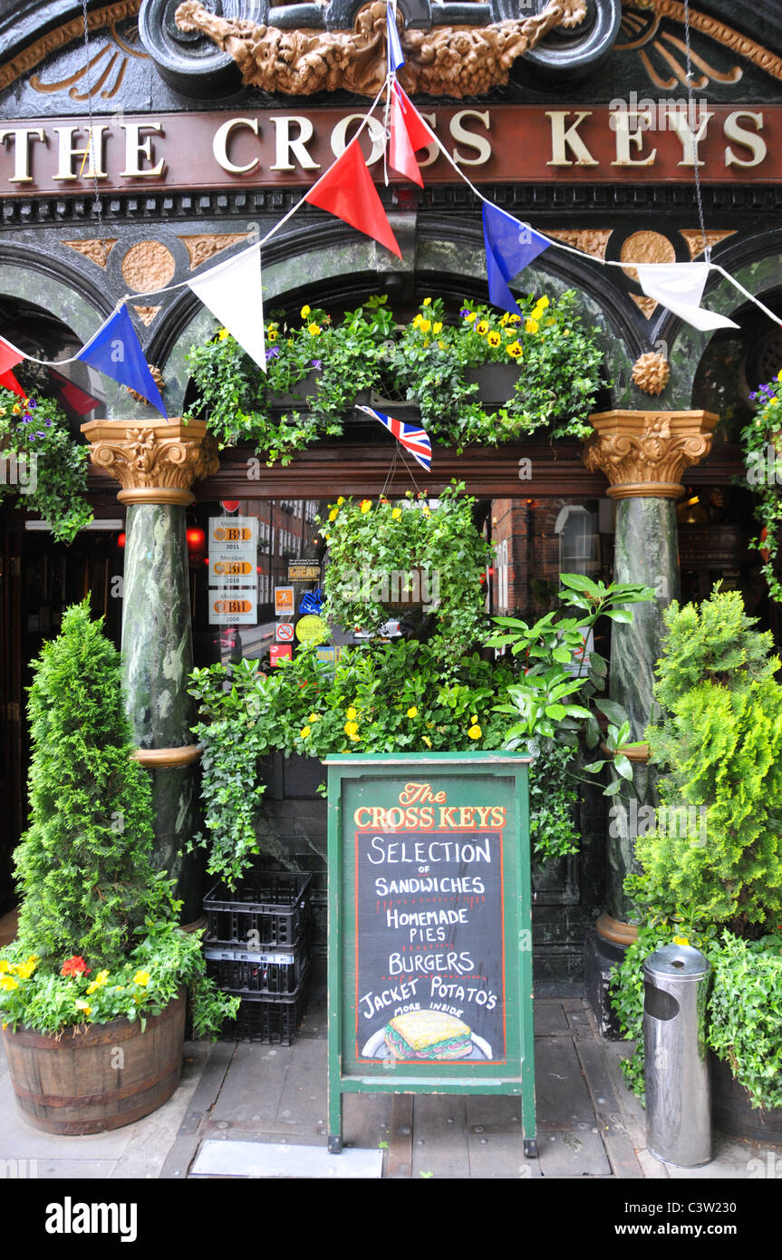 The Cross Keys pub Covent Garden traditional English public house with bunting - Stock Image