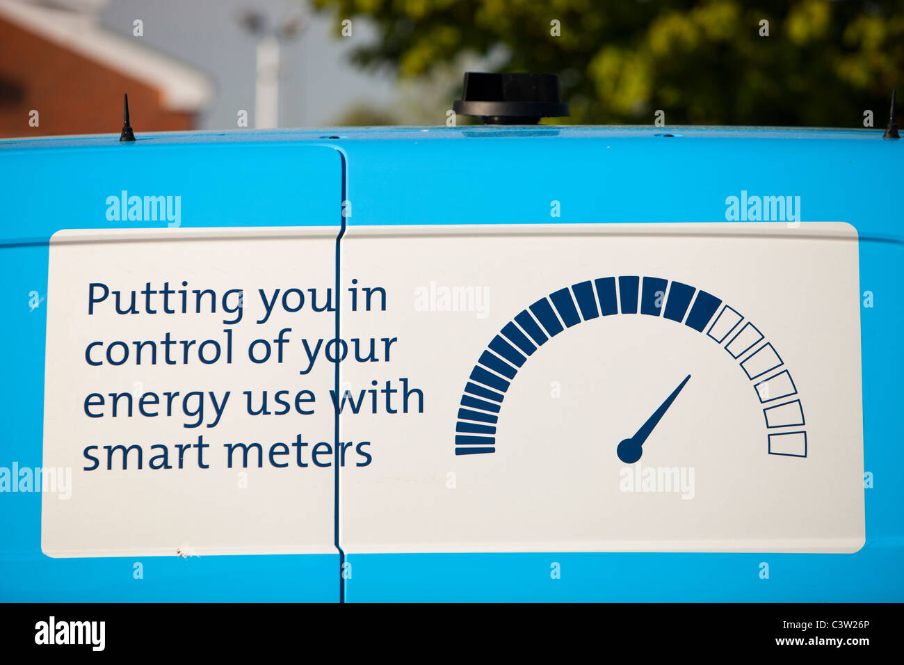 An advert on the side of a Scottish Gas car for smart meters. - Stock Image