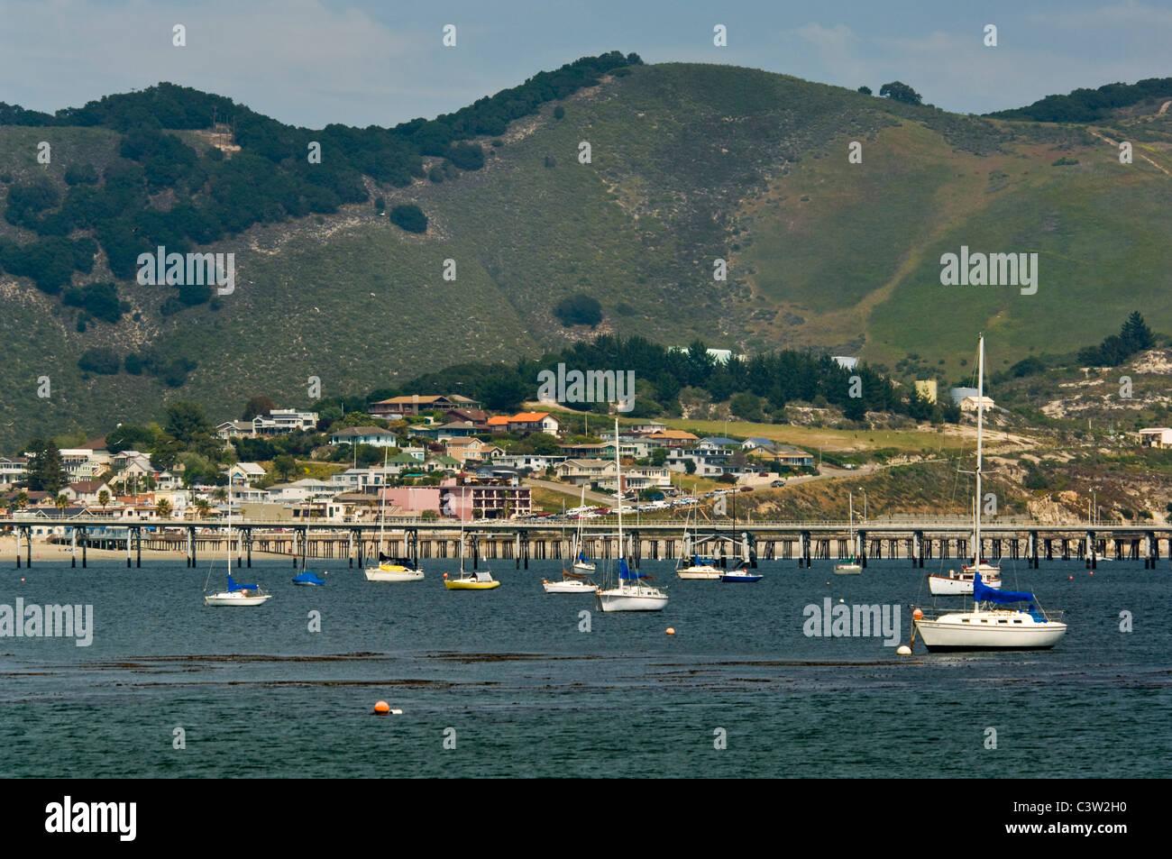 Boats anchored in San Luis Obispo Bay, near Avila Beach, California - Stock Image