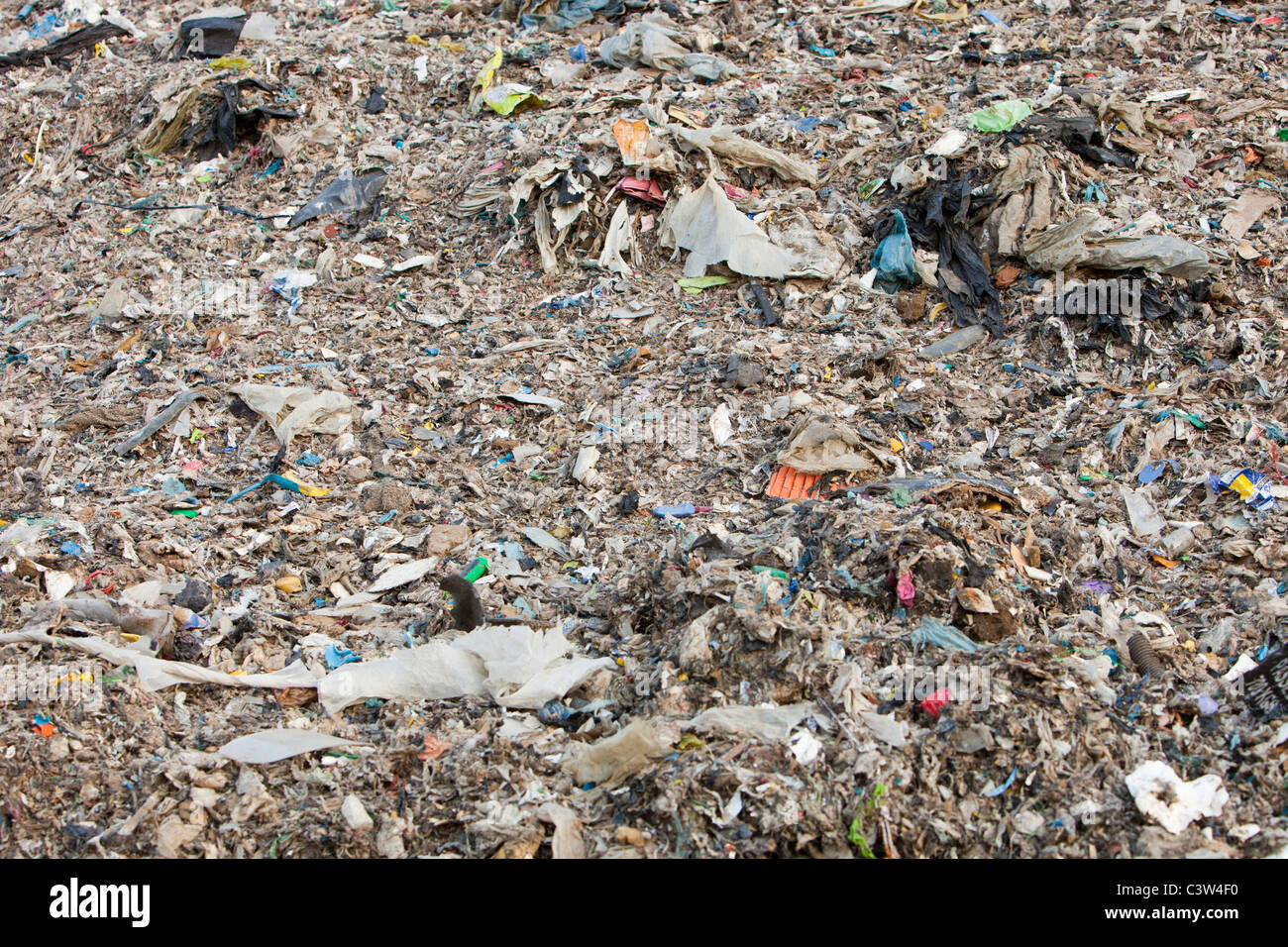 Plastic rubbish in a landfill site on Teeside, UK. - Stock Image