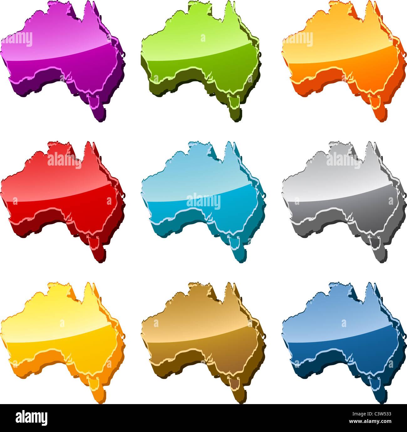 Australia continent map icon button multicolored illustration set ...