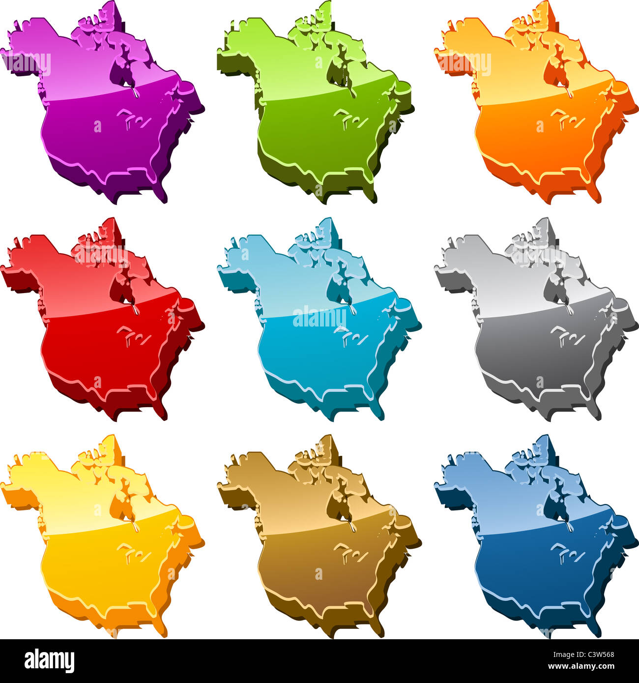 north america continent map icon button multicolored illustration