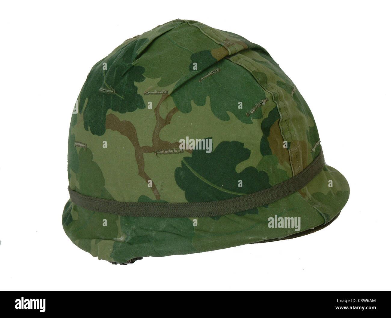 US Army M1 combat helmet from the Vietnam war. - Stock Image