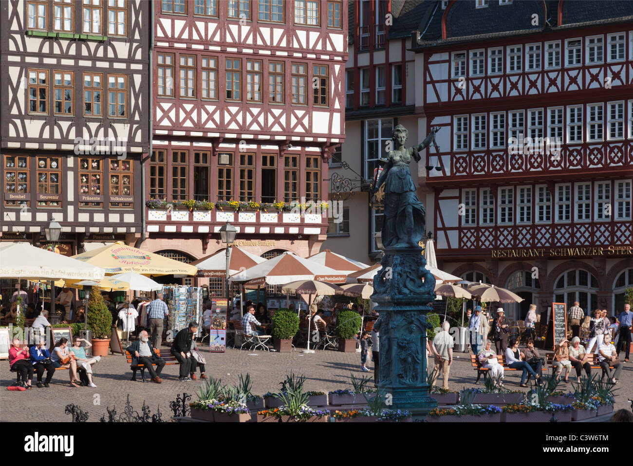 A Spring view of Frankfurt Römer (Römerberg), one of the more historical sqaures in the city. - Stock Image