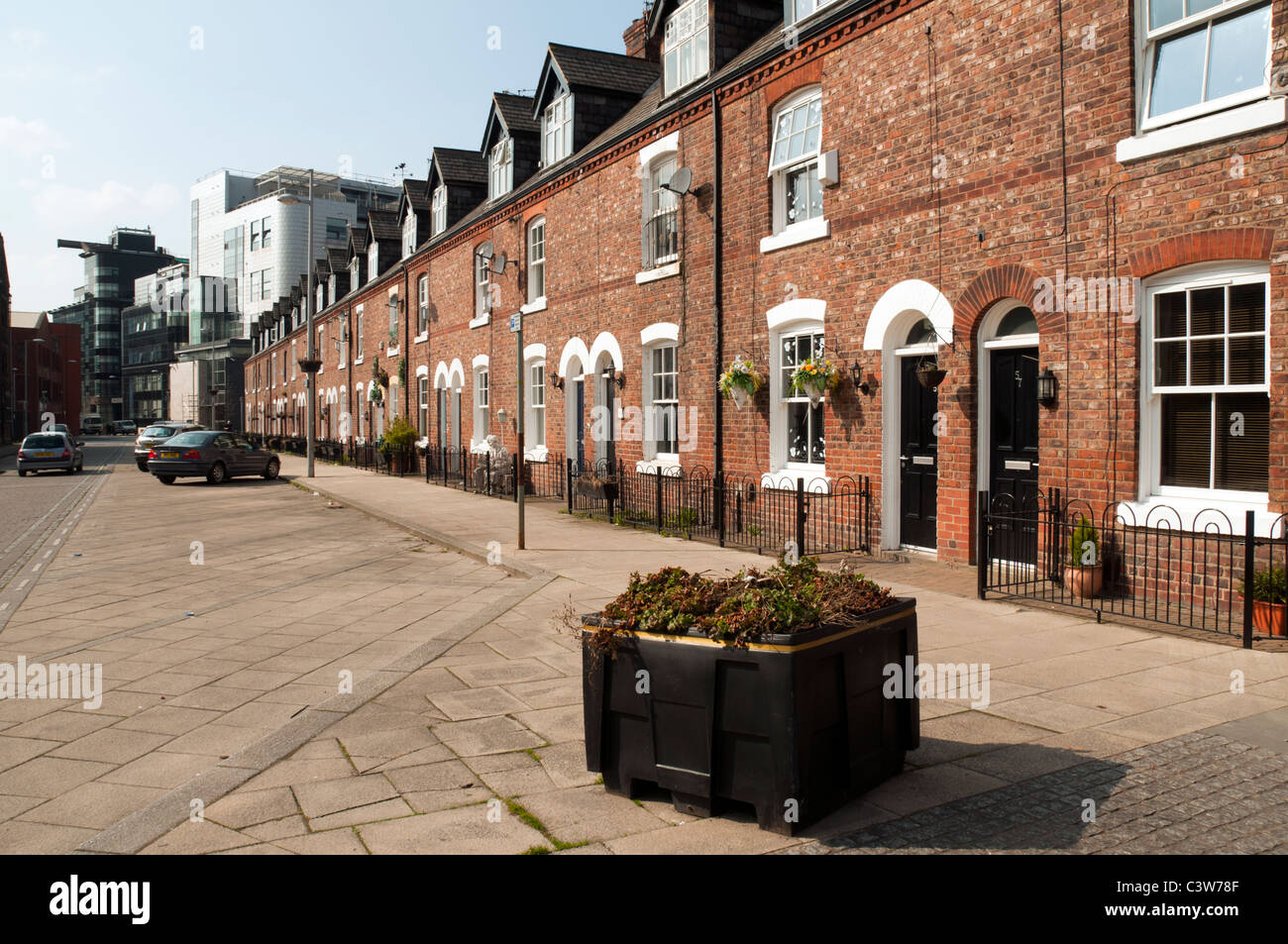 Restored late 19th century terraced houses, George Leigh St, Ancoats Urban Village, Northern Quarter, Manchester, - Stock Image
