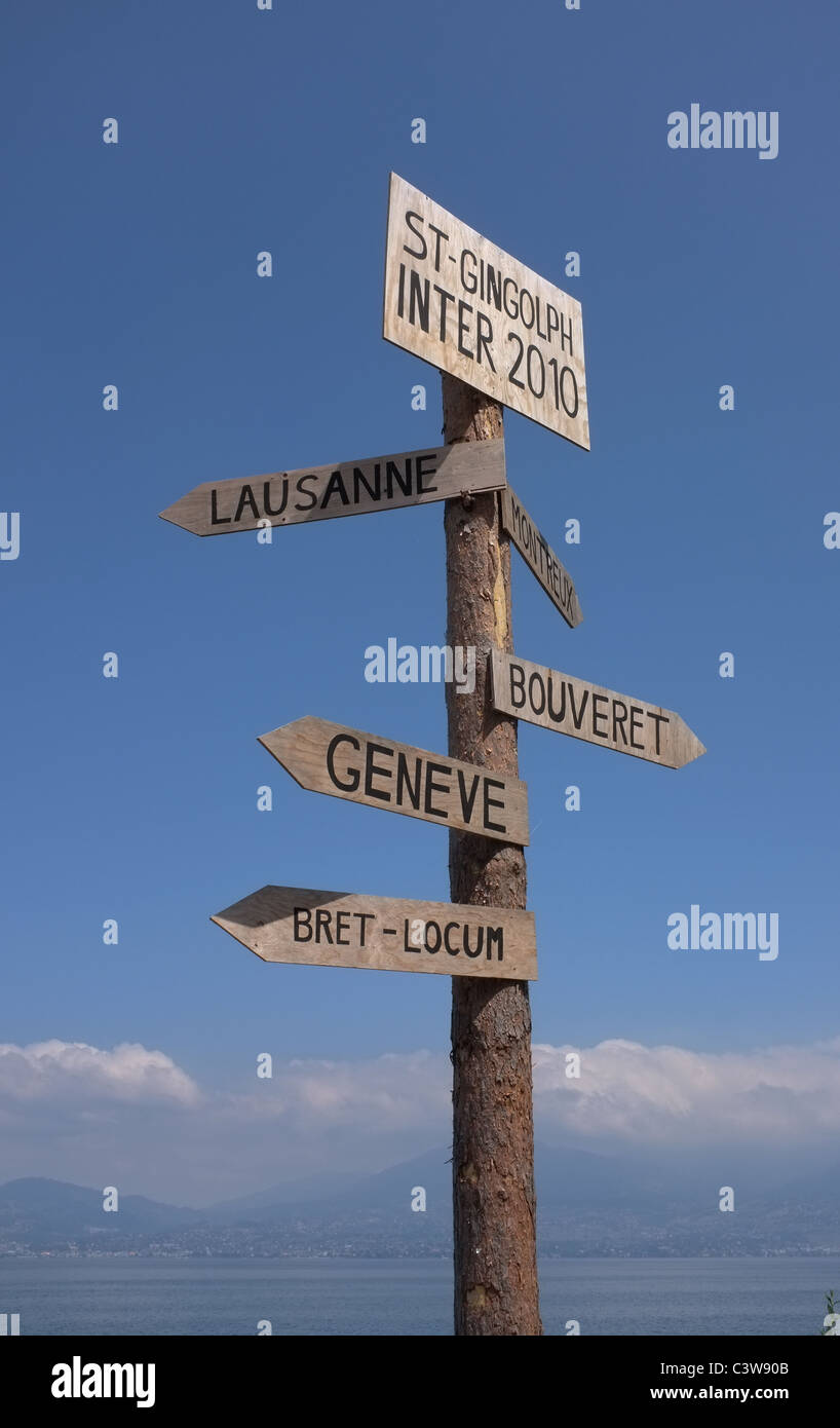Signpost at  St Gingolph Switzerland - Stock Image