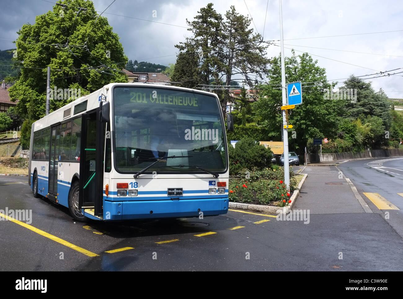 Trolleybus at Vevey Funi Terminus - 1 - Stock Image
