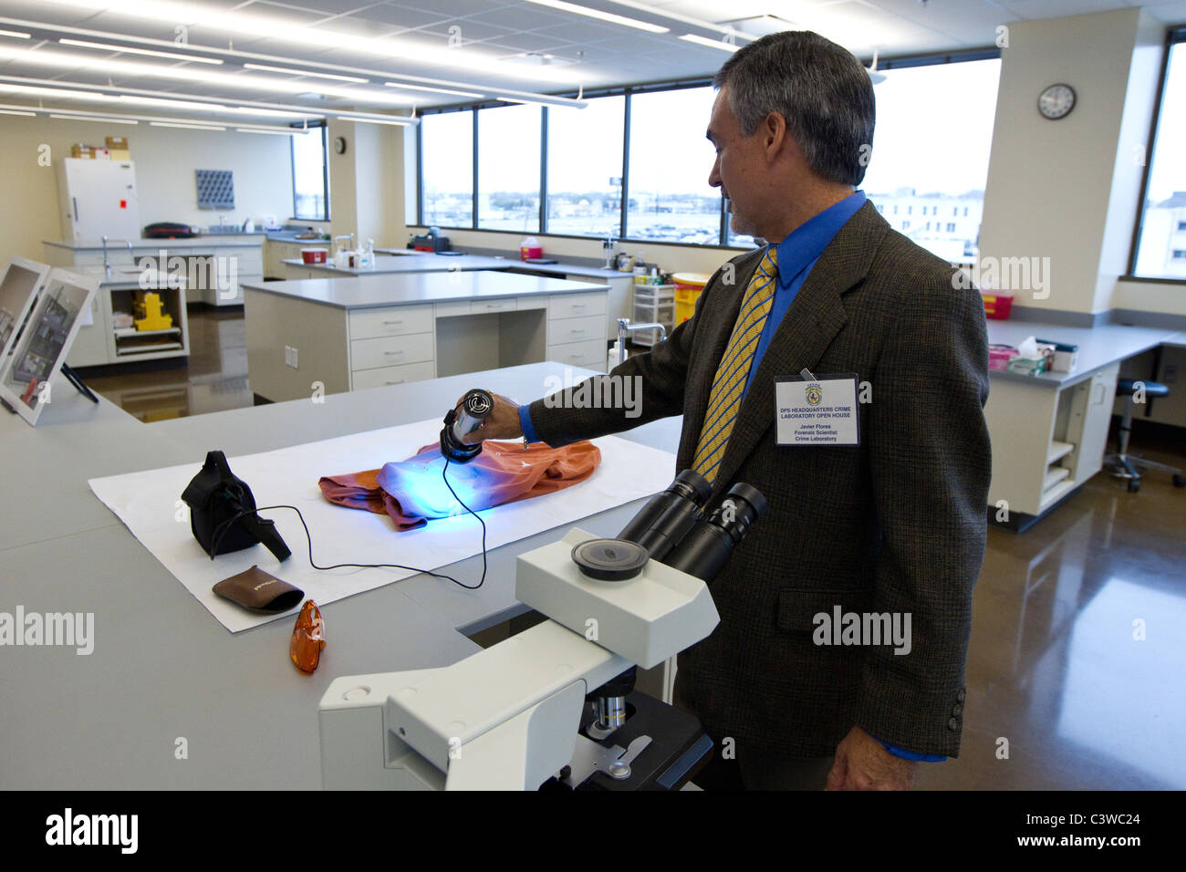 High tech equipment in the laboratory of the Texas Department of Public Safety Crime Lab in Austin Texas - Stock Image