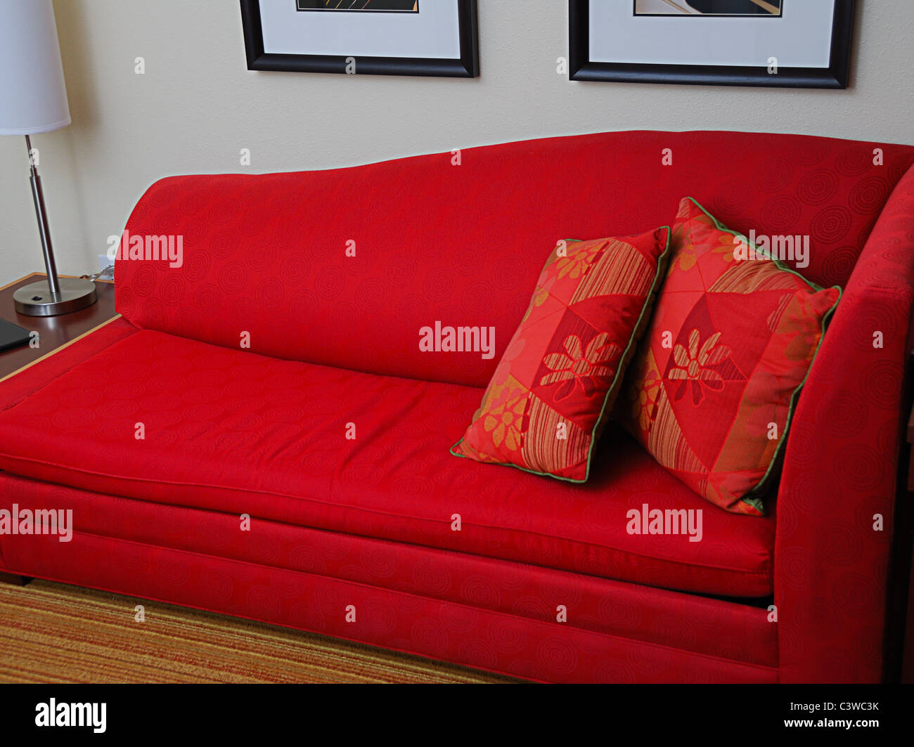 Photograph of a contemporary, red sofa Stock Photo: 36823015 ...