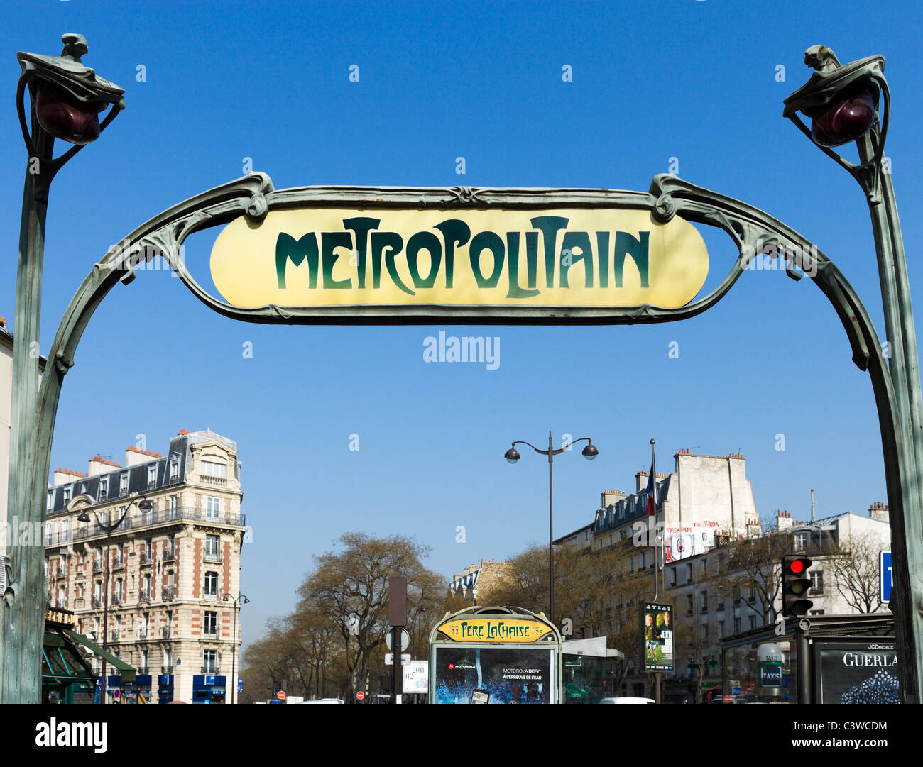 Hector Guimard designed entrance to the Pere Lachaise Metro station, Paris, France - Stock Image