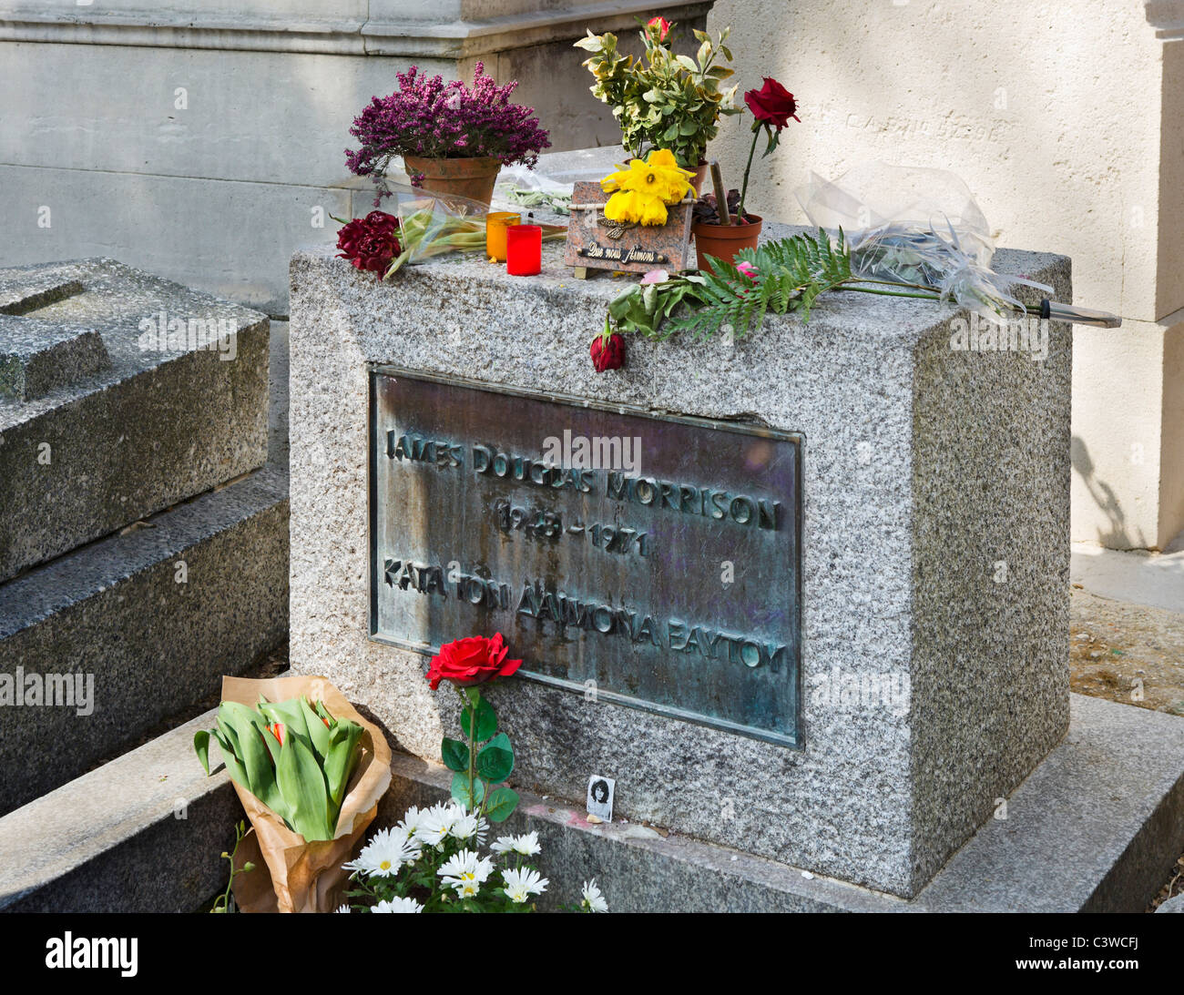 The Doors singer Jim Morrison's grave in Pere Lachaise Cemetery, 20th Arrondissement, Paris, France - Stock Image