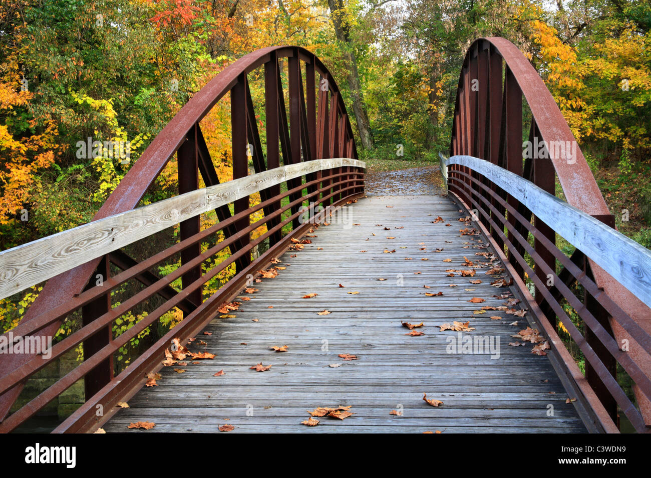 A Foot Bridge On The Erie Canal Towpath Trail, Cuyahoga Valley National Park, Ohio, USA - Stock Image