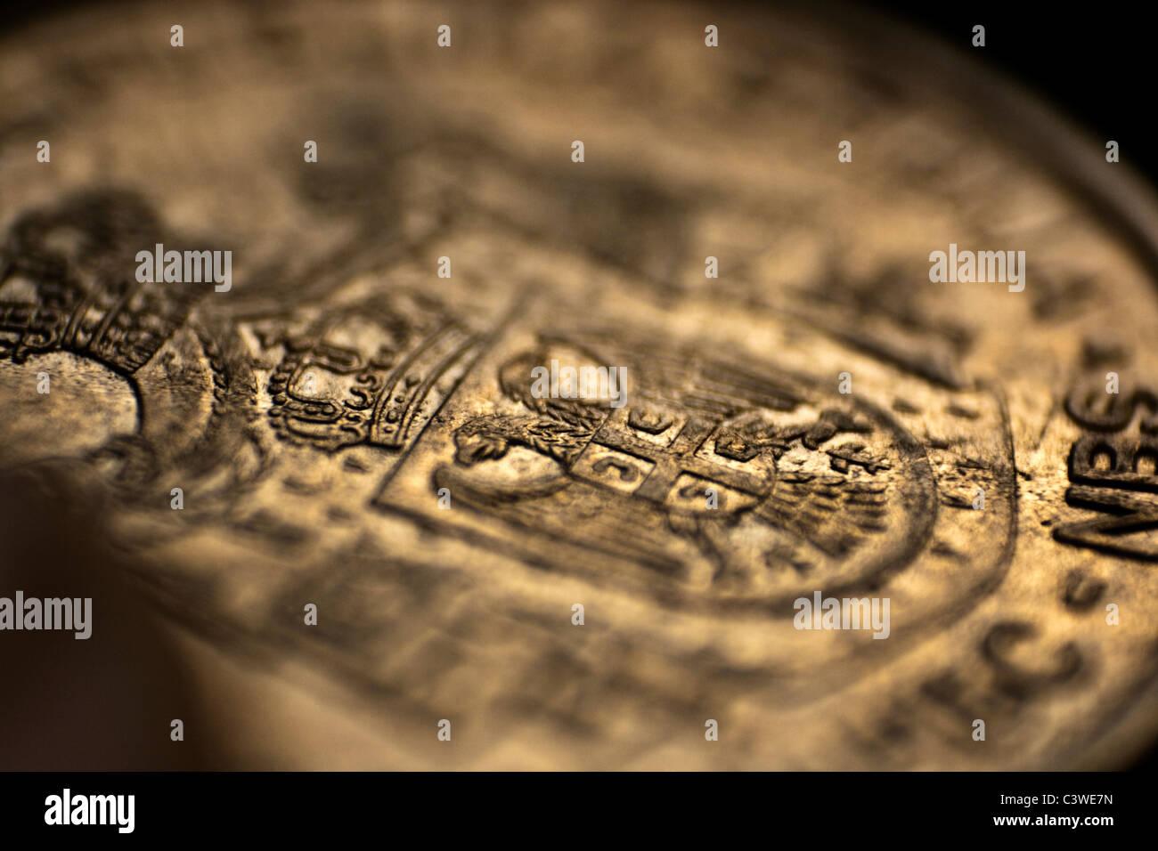 Serbian money - Dinar (close up of a coin) - Stock Image